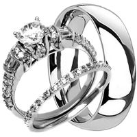TITANIUM Mens Band and 2 pc Womens Engagement Wedding CZ ...