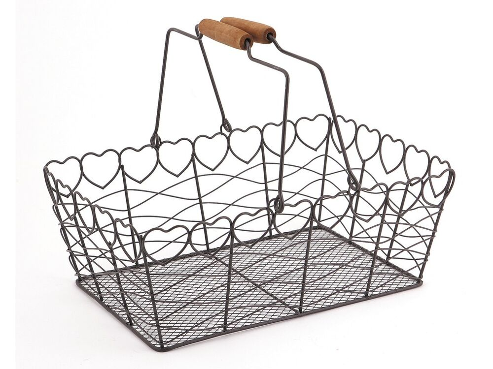 French Style Metal Heart Wire Fruit Egg Basket Kitchen