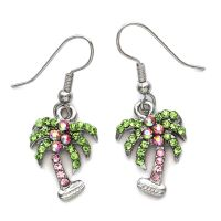 Green Pink Tropical Palm Tree Dangle Earrings High Polish
