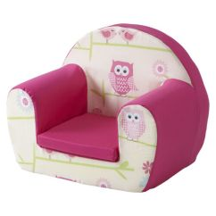 Comfy Chairs For Toddlers Office Chair Executive Leather Owls Twit Twoo Pink Childrens Kids Foam Armchair Seat Girls | Ebay
