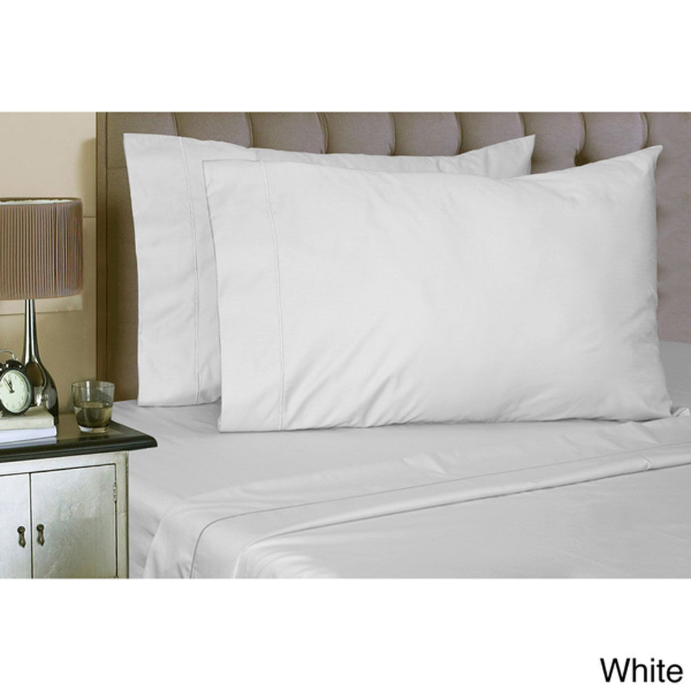 White Full Size 500TC 100% Cotton Bed Sheet Set Flat and