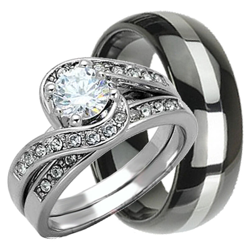 His  Hers 3 pcs Womens STERLING SILVER  Mens TUNGSTEN