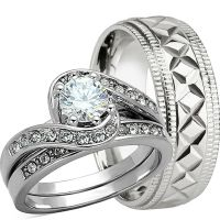 3 PCS HIS AND HERS Genuine 925 STERLING SILVER WEDDING