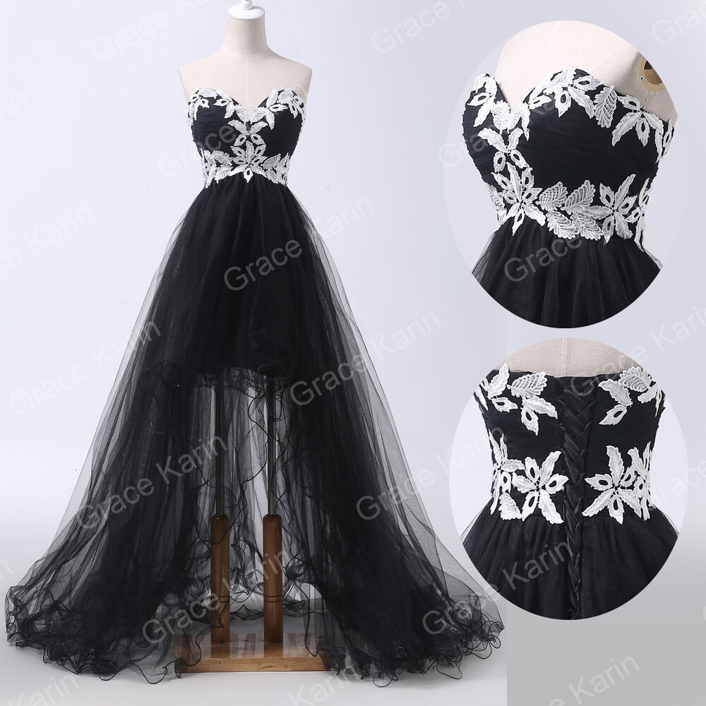 Sweetheart Black Ball Gown Evening Homecoming Party Prom