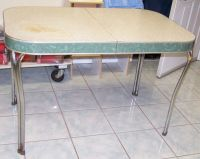 Vintage FORMICA & CHROME TABLE 1952 Cracked Ice w/staining ...