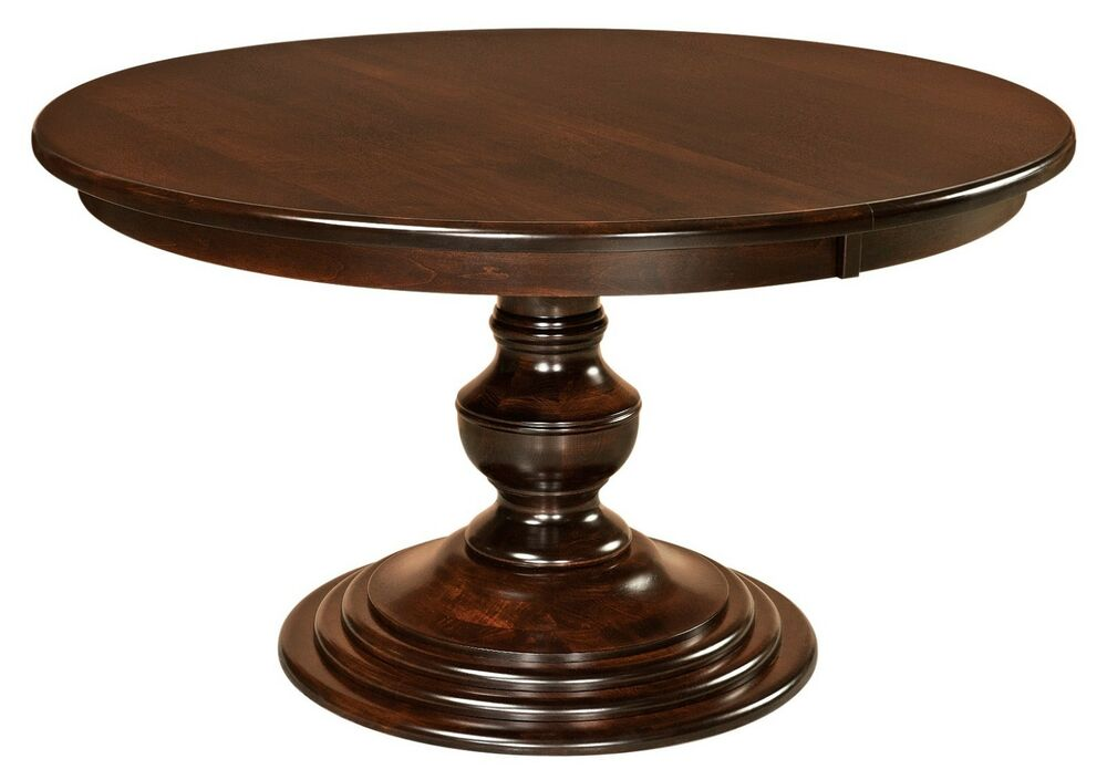 Amish Round Pedestal Dining Table Modern Traditional Solid