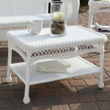 White Wicker Patio Furniture Coffee Table
