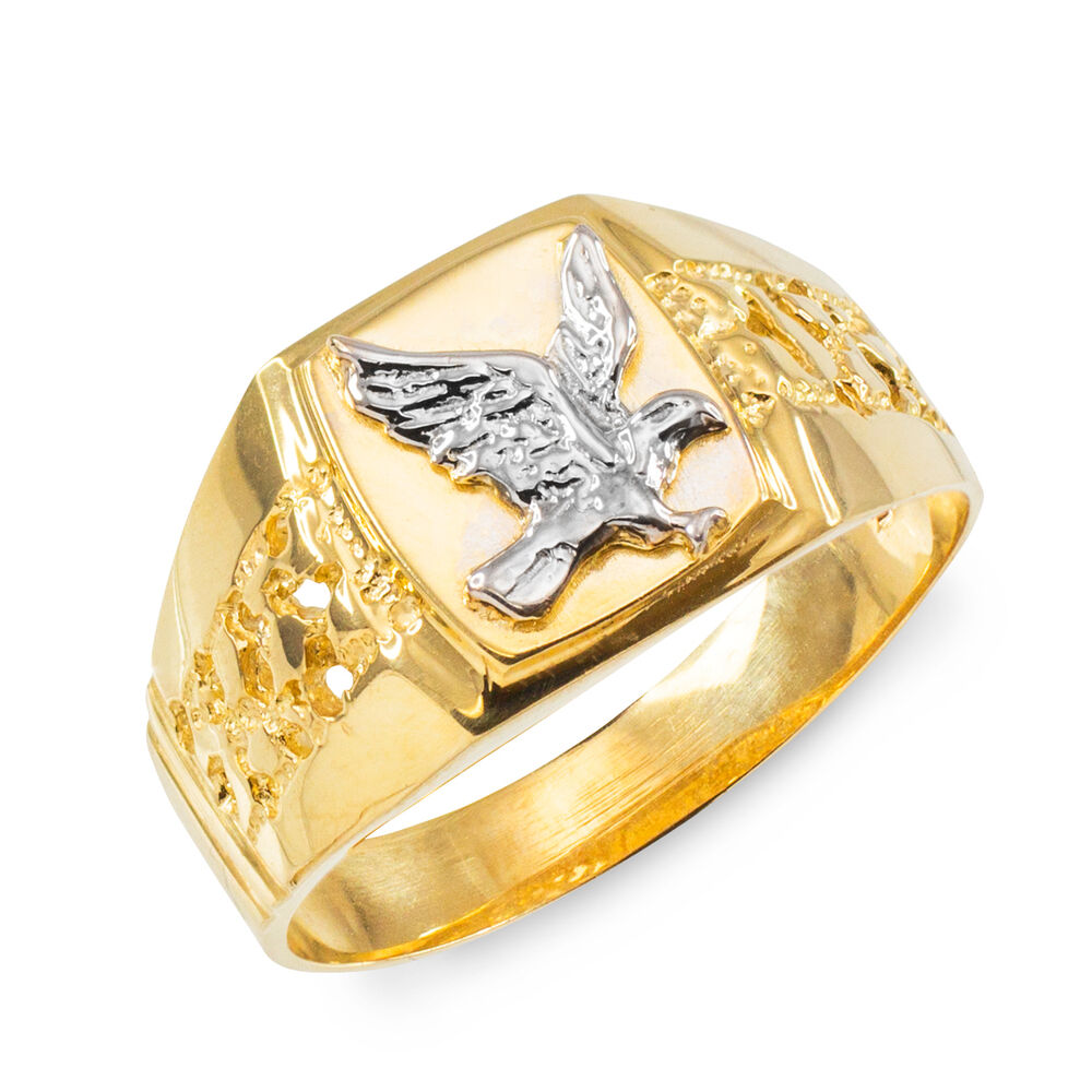 Gold American Eagle Mens Nugget Ring  eBay
