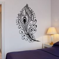 Wall Decal Beautiful Peacock Feather Bird Room Art Vinyl ...