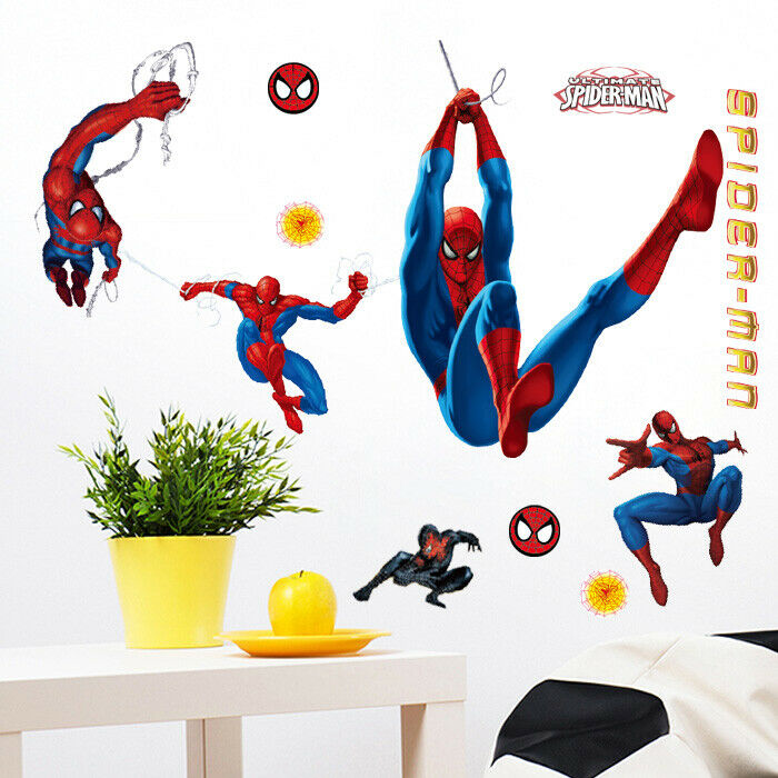 Large Amazing Spiderman Wall Stickers Boys Kids Childrens
