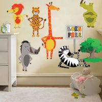 Childrens Born Free Animals Jungle Wall Stickers Decals ...