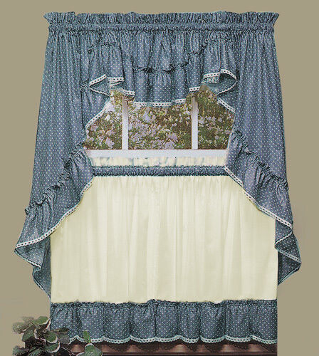 kitchen window curtains good knife set new - sturbridge blue ruffled by ...