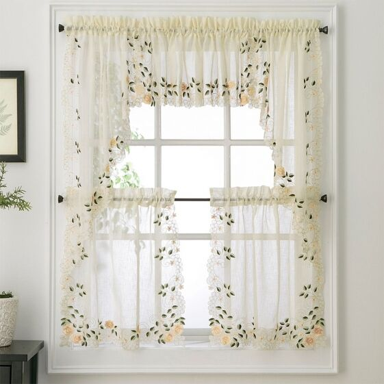 NEW  Rosemary Floral Kitchen Tier Curtain  eBay