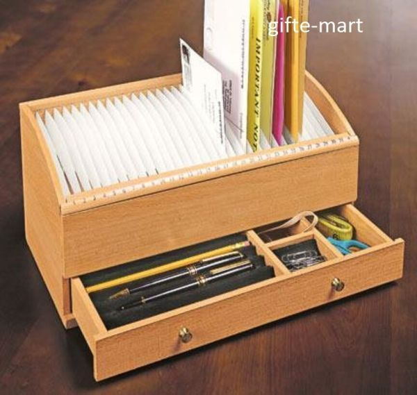 Slot Wood Mail Desk Organizer with Drawers