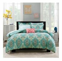 FULL 8pc Comforter Bedset Aqua Blue Pink Color Paisley