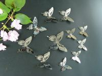 Set11-3 Silver Butterfly Mirror Wall Decor Metal 3D ...