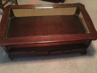 Elegant Coffee Table with drawers for storage, glass top ...