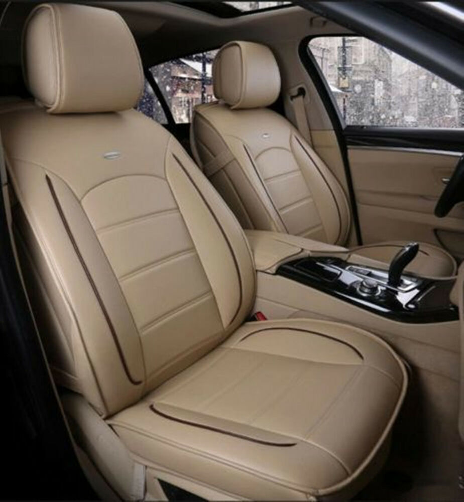 leather chair covers ebay rocking slipcovers front + rear dacron fabric pu car seat cushion cover for all beige  
