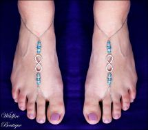 Silver Barefoot Sandal Beach Wedding Toe Ring Anklet