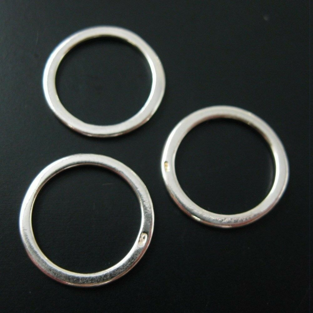 925 Sterling Silver Circle Charms Connector Closed Jumprings 14mm 3 Pcs EBay