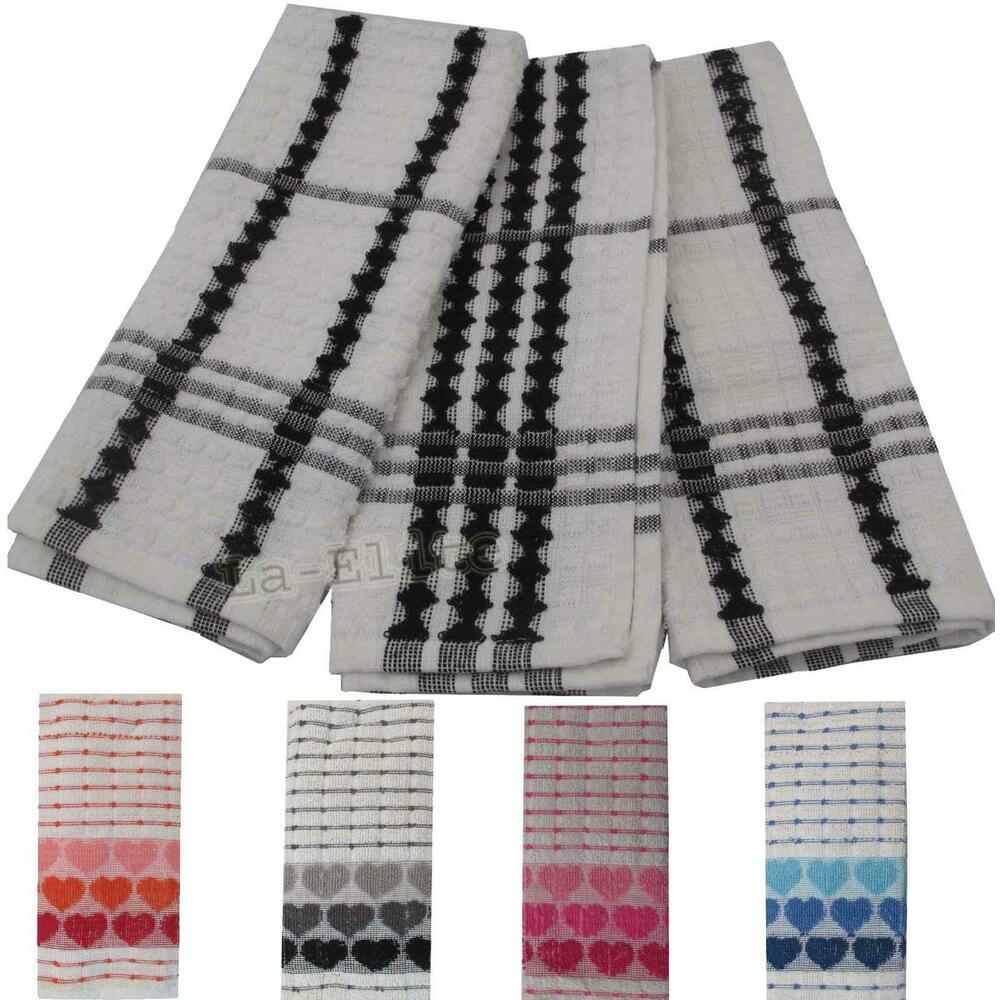 Tea Towels Pack Set Terry Cotton Kitchen Dish Cloths Large Cleaning Check Stripe  eBay