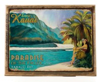 Exotic Kauai Metal Sign on Wood Frame, Surfing and ...