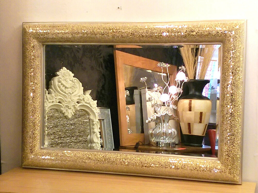 Crackle Bow Design Wall Mirror Champagne Silver Frame