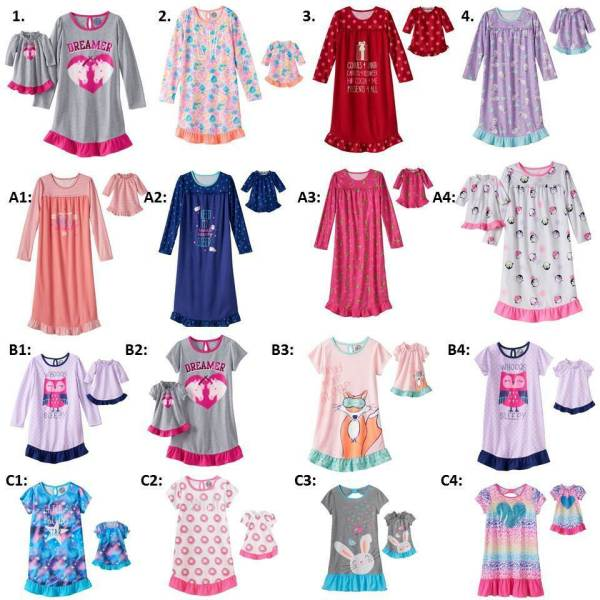 Girl 414 and 18quot doll matching nightgown pajamas ft