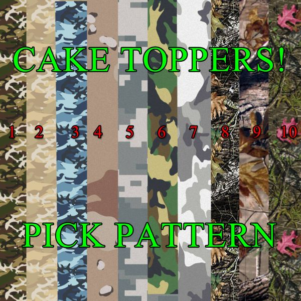 Camouflage Cake Topper Edible Frosting Sheet Icing