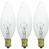 3x 40W CLEAR CANDLE FILAMENT LIGHT BULBS SES SMALL SCREW