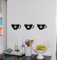 (3) Tea Coffee Cups Kitchen Wall Sticker Wall Art Decor ...