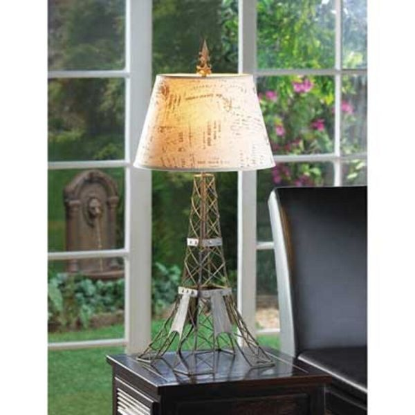 French Country Eiffel Tower Wire Metal Bedside End Table