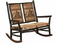 Amish Hickory Log Grandpa Double Rocker Rocking Chair ...