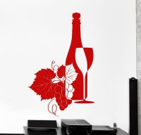 Wall Vinyl Decal Wine Grape Vine Bar Cool Decor z3853