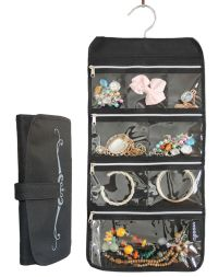 Zippered Pockets Travel Jewelry Roll up Organizer ...