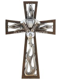 "12"" Decorative Layered Wall Cross Jesus Motorcycle Engine"