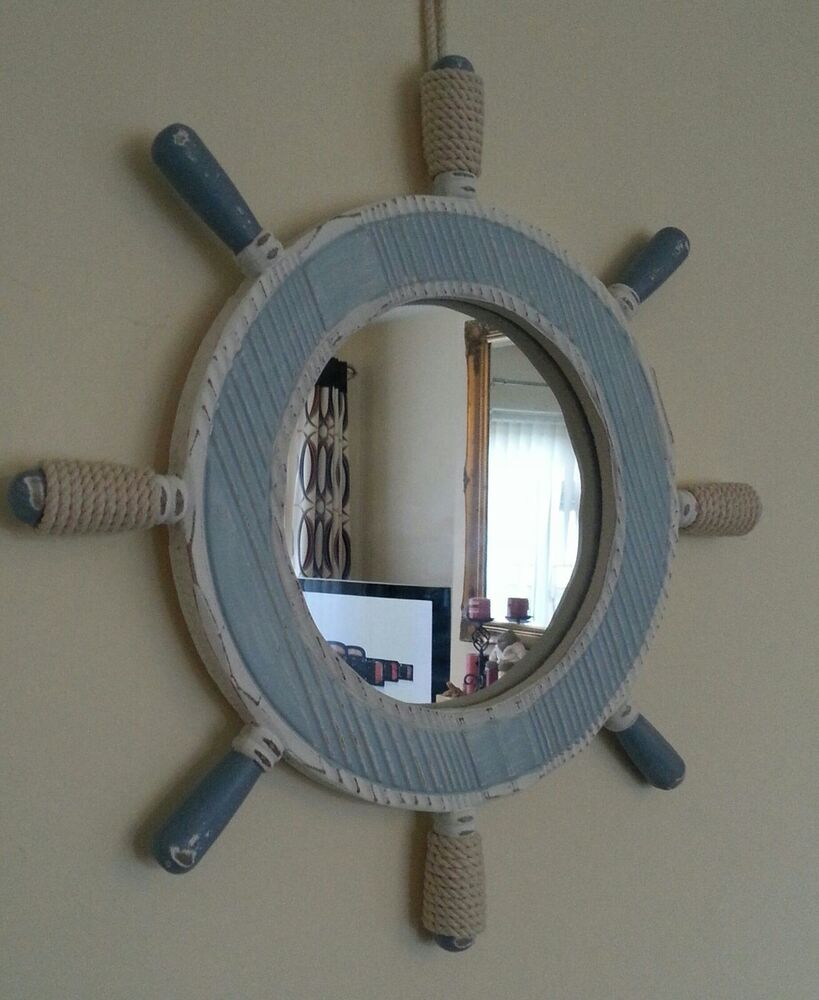 Nautical Ships Wheel Mirror in washed blue  white Bathroom  eBay