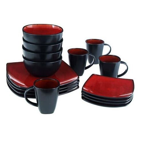 Square Dinnerware Set Dinner Plates Mugs Dishes Bowls Kitchen Stoneware Service  Ebay