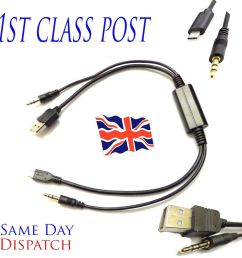details about bmw 3 series saloon micro usb y aux audio cable lead charging one plus 2 5 nokia [ 1000 x 1000 Pixel ]