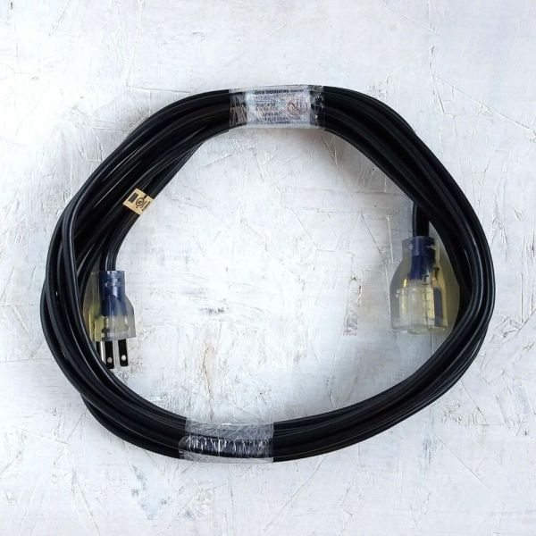 15' 14 Gauge Black Flat Extension Cord With Lighted End