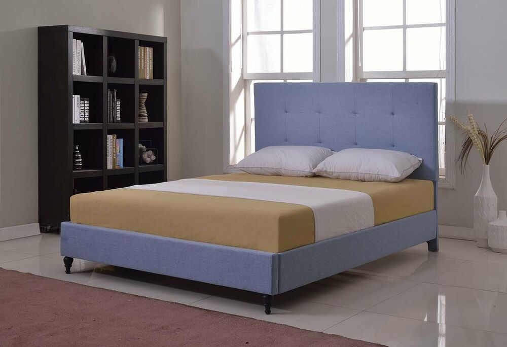 Light Blue Upholstered Platform Bed Frame Amp Slats Modern