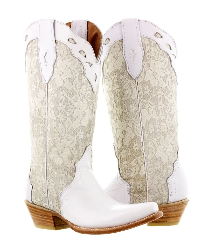 womens white leather western wedding victorian lace cowboy dress boots rodeo  eBay