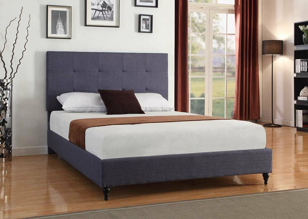 CHARCOAL BLUE Upholstered Platform Bed Frame Amp Slats