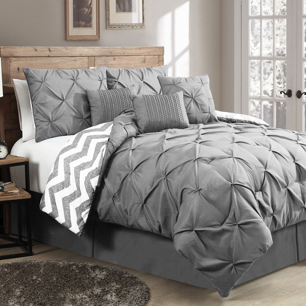 New Reversible 7Piece Comforter Set King Size Bed Bedding Pinch Pleat Gray  eBay