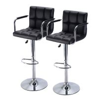 Set of 2 Bar Stool PU Leather Barstools Chair Adjustable