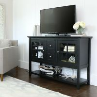 Walker Edison 52 in. Wood Console Table TV Stand - Black ...