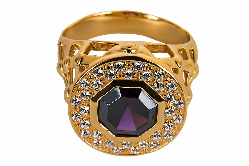 New Mens Clergy Bishop Ring (subs690gp), Purple Stone