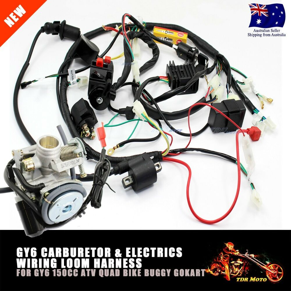 hight resolution of gy6 150cc carby electrics wiring harness quad atv buggy 150cc gy6 engine wiring harness 150cc go kart wiring diagram