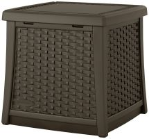 Patio End Table Storage Wicker Resin Outdoor Furniture