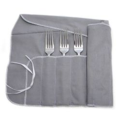 Kitchen Knife Holder Commercial Exhaust System Design 12 Section Dinner Fork Storage Roll Silverware Silver Wrap ...